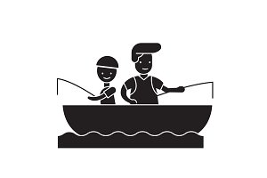 Son and dad fishing black vector