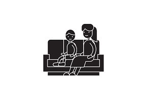 Son and mom on the sofa black vector