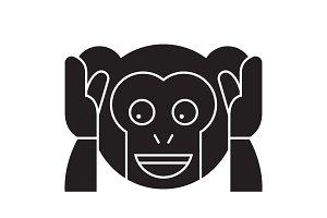 Speak no evil emoji black vector