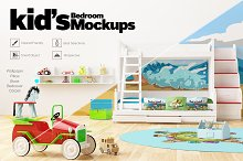 KID'S Bedroom Set Interior Mockups by  in Product Mockups