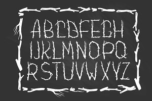 Chalk ECO font made of branches