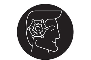 Strategic thinking head black vector