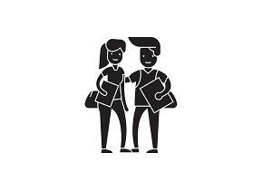 Student couple black vector concept