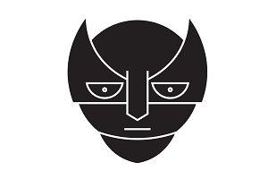 Super hero emoji black vector