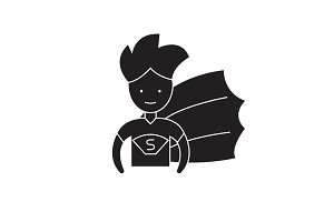 Super hero kid black vector concept