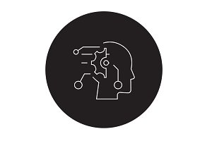 Technical mind black vector concept
