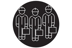 Technician team black vector concept