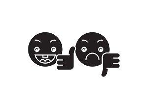 Thumbs up, down emoji black vector