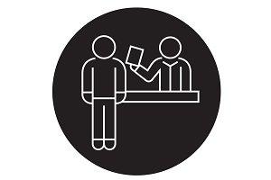 Ticket booking office black vector
