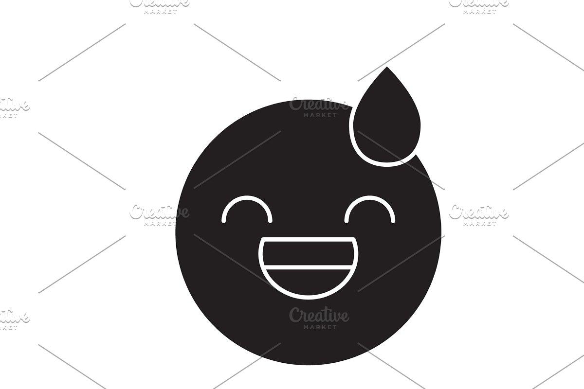 Tired emoji black vector concept