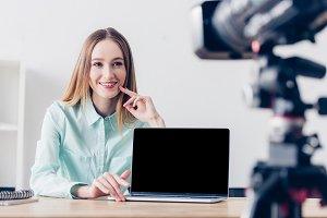 smiling attractive female freelancer