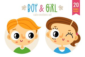 Boy&Girl - cute emotions set