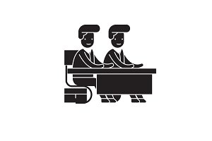 Two students at the desk black