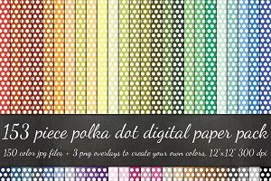 153 Piece Polka Dot Paper Pack