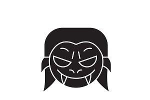 Vampire emoji black vector concept