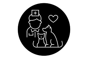 Veterinarian with dog and cat black