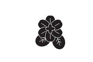 Violet flower black vector concept