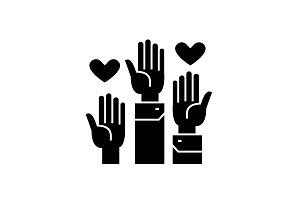 Volunteer hands black vector concept