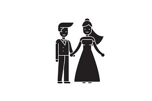 Wedding couple black vector concept