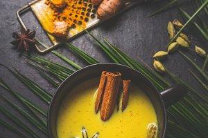 Mug of golden turmeric milk