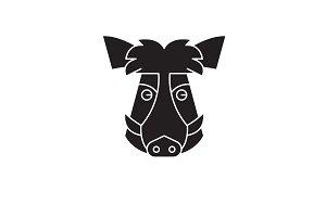 Wild boar head black vector concept