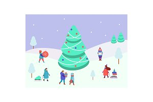 winter scene with people and spruce