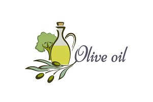 Olive oil bottle and product label