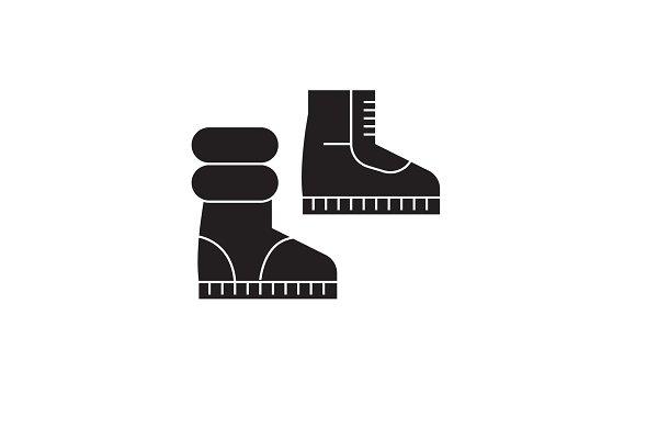Winter boots black vector concept