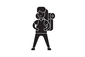 Woman going camping black vector