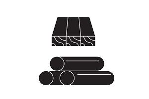 Wooden planks and rolls black vector