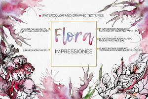 Floral watercolor and graphic set