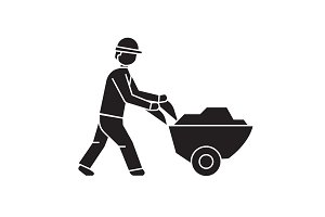 Worker with wheelbarrow black vector