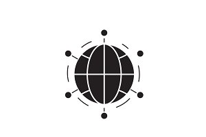 World network black vector concept