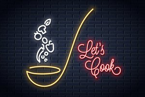 Soup ladle with vegetables neon sign