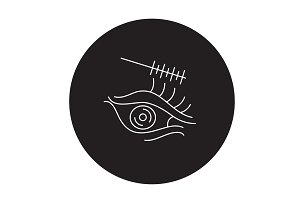 Eye makeup black vector concept icon