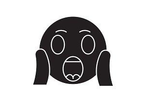 Face screaming emoji black vector