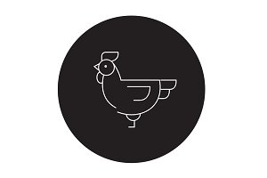 Farm chicken black vector concept