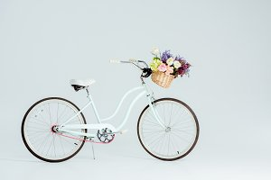 bicycle with flower basket isolated