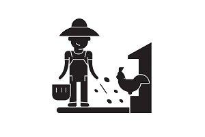 Farmer feeding black vector concept