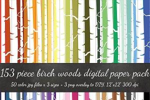 153 Piece Birch Forest Digital Paper