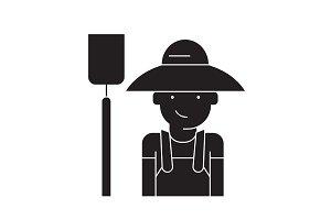 Farmer with hayfork black vector