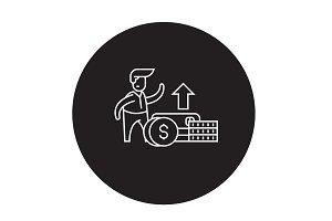 Financial growth black vector