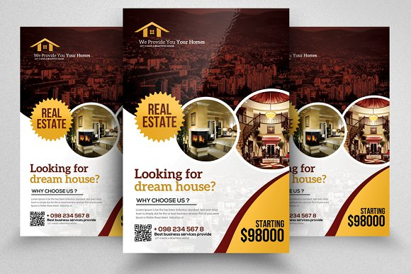 Real Estate Property Flyer Template Flyer Templates Creative Market