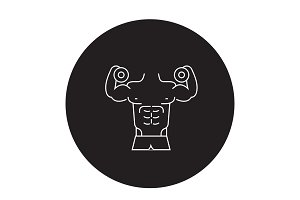 Fitness gym activities black vector