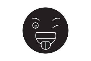 Funny emoji black vector concept