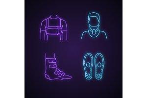 Trauma treatment neon light icons
