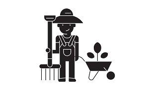 Gardening work, gardener black