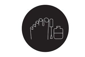 Gel polish pedicure black vector