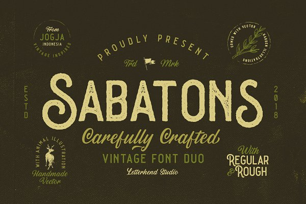 Fonts - Sabatons - Vintage Font Duo