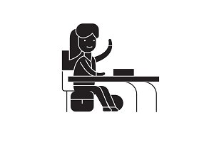 Girl at a desk black vector concept
